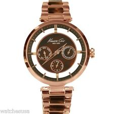 Kenneth Cole Rose Gold Metal and Brown Marble Link Strap Women's watch KC4929