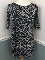 Marietta Leopard Print Dress Size Medium Large Bodycon Mini 3/4 Sleeve Open Back