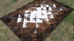 NEW COWHIDE PATCHWORK CARPET AREA RUG Cow hide BRINDLE 4ft x 6ft