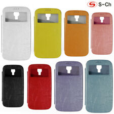 For Samsung Galaxy S4 S4 Mini Phone Case S-CH Double window Fashion PU Leather