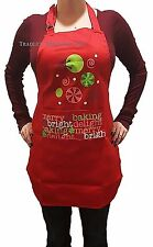 Christmas Holiday Cooking Kitchen Apron NEW One Size Fits Most Red & Green Merry