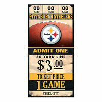 Pittsburgh Steelers Old Game Ticket Holzschild 30 cm NFL Football Wood Sign