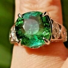 8.26TCW Sparkling Green Blue Tourmaline Diamond 14k white gold ring
