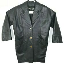 Vintage Givenchy Mens Black Leather Jacket Button Up Size Xl