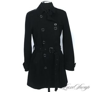 Burberry Brit Cashmere Blend HEAVYWEIGHT Black Caped Belted Pea Coat Jacket 10