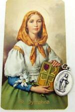 MRT St Dymphna Irish Saint Antique Holy Card w Silver Plate Medal Gift Set Lot