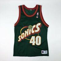 VTG NBA Seattle Super Sonics Shawn Kemp Champion Jersey Size 40
