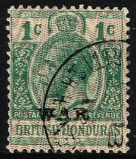 SG 114 BRITISH HONDURAS 1916 WAR STAMP - 1c GREEN - USED