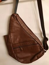 Brown Leather Sling Bag Cross Body Backpack