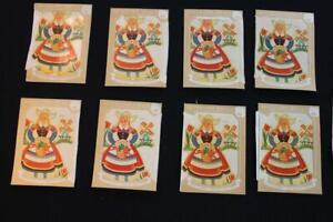 10 PCS. MISC SET OF DUTCH GIRL VINTAGE 1930'S-1940'S  DECALS