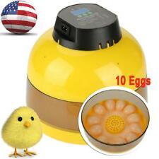 10 Eggs Mini Led Digital Incubator Poultry Hatcher Fan Temperature Duck Bird Us