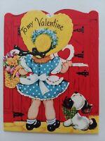 1951 Vtg Little GIRL w PUPPY Peek-A-Boo HEART Window VALENTINE GREETING CARD