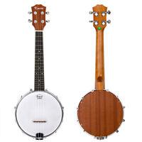 23 Inch Banjo Ukulele Ukelele Concert 4 String Sapele Wood for Beginner Gifts