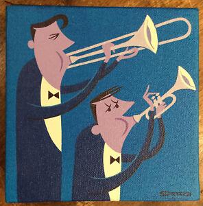 Shag Josh Agle - Original Painting On Canvas - Brass Duo - Not A Print