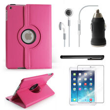 Hot Pink - Apple iPad Air Accessories Bundle Rotating Case Business Travel Combo