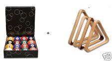 Kugelsatz Pool-Bälle und Holz-Triangel im Set
