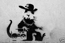 "Banksy - Graffiti Rap Rat 24""x36"" Canvas Print"