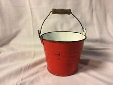 Red Enamelware Small Pot Bucket Pail with Bail Handle ~ Vintage