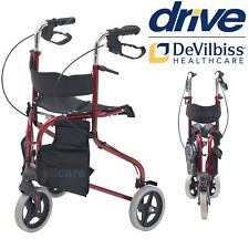 Lightweight Folding 3 Wheel Tri Walker Rollator Walking Aid Frame With Seat