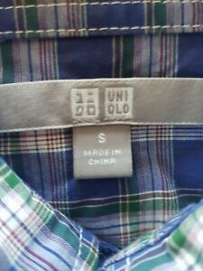 Uniqlo Long Sleeve Button Up Check Cotton Shirt Mens Size Small