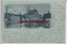 (109772) AK Gruß aus Görlitz, Neiße, Brücke, Peterskirche, Mondscheinkarte 1898