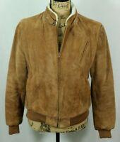 Women's Vintage Suede Sherpa Lined Moto Jacket Size M Trucker Bomber Full Zip