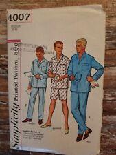 Simplicity 4007 Vtg 60' Mens Pajamas perfect fit Short average Tall Sz Med 38-40