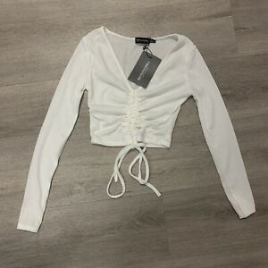 Pretty Little Thing White Ribbed Ruched Front Cropped Top. Ladies Size UK 6