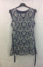 Tenki Blue Sleeveless Basic Tea Dress Tie Waist Damask Print Size 12