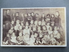 OLD CABINET PHOTO CDV Victorian Infant School Group 40 Children inc Baby 1880s