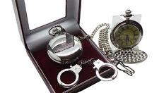 HM PRISON Pocket Watch Jail Warden Officer Luxury Gift  Set Handcuffs Keyring