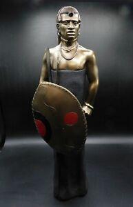 Soul Journeys Maasai Figure of warrior with shield, spears, original packaging.