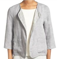 Eileen Fisher Linen Open Front Jacket Dark Pearl Blazer Size XS Womens Tops