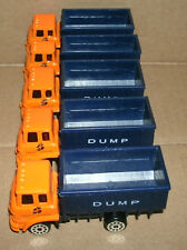 Five 1/64 Scale Cabover Dump Truck Diecast Plastic Toy Construction Vehicle Lot