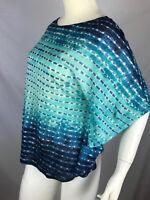 New Lauren Ralph Lauren Bat Wing Tie Dye Short Sleeve Top Blue Linen Sz  S