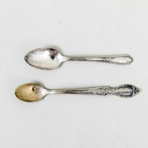 Two Vintage Silver Baby Feeding Spoons Wma Rogers Victorian Rose & Meadowbrook
