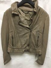 Muubaa Women's Fawn Grey/Brown Biker Leather Jacket. RRP £299. UK 10.
