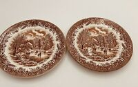 "Churchill England Currier Ives HARVEST BROWN Transferware 2 Salad 8"" Plates"