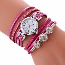 Fashion Women's Watch Bracelet Crystal Leather Dress Analog Quartz Wrist Watches