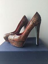SERGIO ROSSI Auth Python Snake skin Animal Tan Platform Pumps Heels NIB 38.5