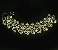 Vintage 1960s AB Bracelet Aurora Borealis Rhinestones Gold Tone Chunky Style