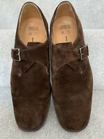 Mens Brown M&S Italian Leather Upper Buckle Shoes Size UK 7.5 Eu 41