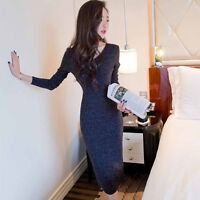Knitted Sweater Women's V Neck Korean Autumn Winter Long Sleeve Dress Bodycon