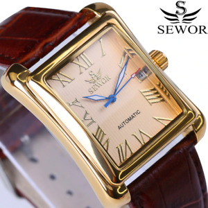 New SEWOR Top Brand Luxury Rectangular Men Watches Automatic Mechanical Watch
