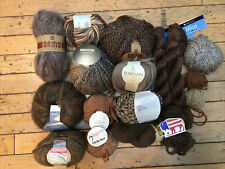 Lot of brown yarn, bison, silk, linen, mohair, bamboo, Berroco, Cascade Yarns