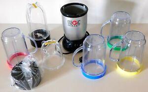 MAGIC BULLET Blender (MB1001B) Motor Base, Cups & Lids ~ Very Good Condition