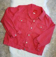 GLORIA VANDERBILT VTG Red Denim Jean Jacket - Women's Size Medium with Pockets