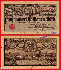 Danzig Deutschland Polen 500 Million MARK 1923 pick 28a MBC / VF