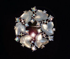TRIFARI ALFRED PHILIPPE 1956 SPRING FROST BLUE FRUIT SALAD LEAVES BROOCH PIN