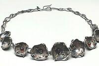 Vintage Blüten Collier 925 Silber Israel - Handarbeit punz. kleine Granate bes.